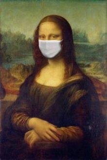 Mona Lisa wearing a face mask