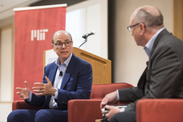 President Aoun and MIT Technology RevieweditorDavid Rotman agreed that the pace and development of robotics and artificial intelligence technology has been faster than society was prepared for. Photo by Adam Glanzman/Northeastern University