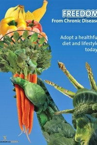 Freedom From Chronic Disease with Fruits and Veggies and the Statue of Liberty Poster - NEW