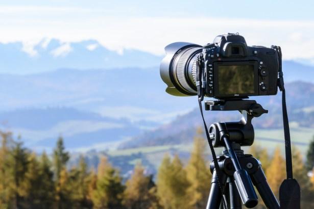 camera taking landscape photo
