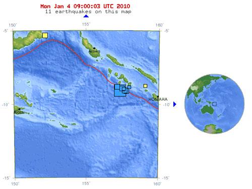 จุดเกิดแผ่นดินไหว บริเวณใกล้กับหมู่เกาะโซโลมอน