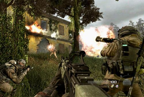 Violent screen shot from Call of Duty