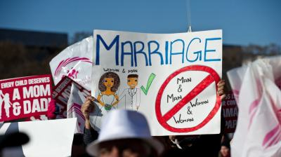 Opponents of same-sex marriage participate in the March for Marriage in Washington, D.C., on March 26