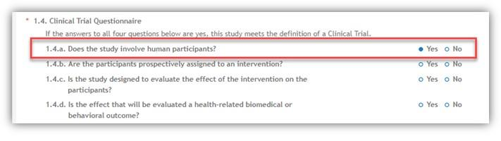 Figure 2: Question 1.4.a of the Clinical Trial Post Submission Study Record