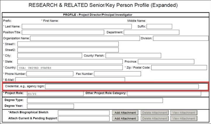 The 'Credential, e.g. agency login field' on the Research & Related Senior/Key Person Profile (Expanded) form