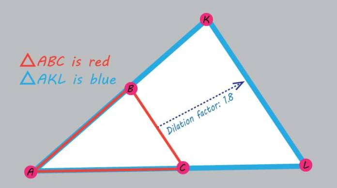 dilation of triangle ABC centered at A by a factor of 1.8 to make triangle AKL from PARCC geometry released item set