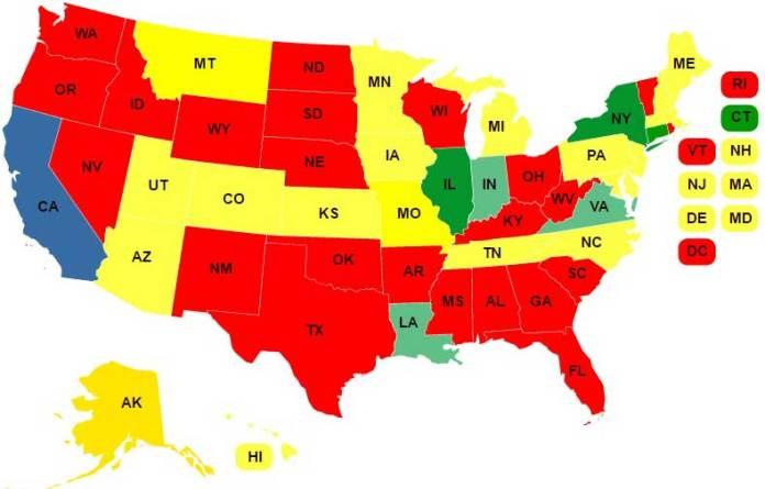 A map of the united states. California is blue; illinois and new york are green; montana, utah, arizona, colorado, kansas, minnesota, iowa, missouri, michigan, tennessee, north carolina, pennsylvania, maine, new jersey, delaware, new hampshire, massachusetts, hawaii, alaska, maryland are yellow; indiana, virginia, and louisiana are blue-green; all other states are red.