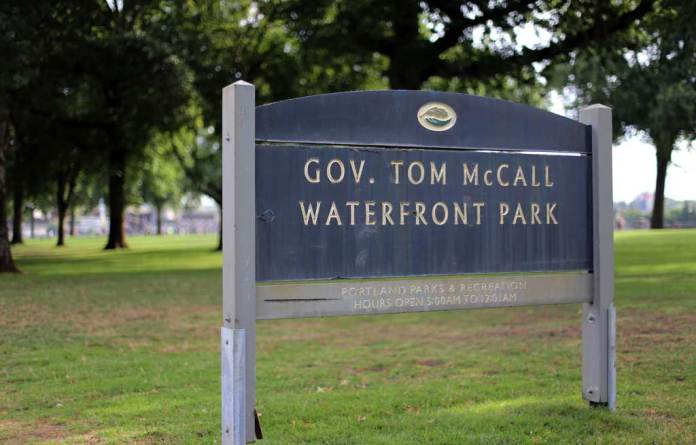 Gov Tom McCall Park in Portland Oregon on the day after anti-white supremacist protesters marched here