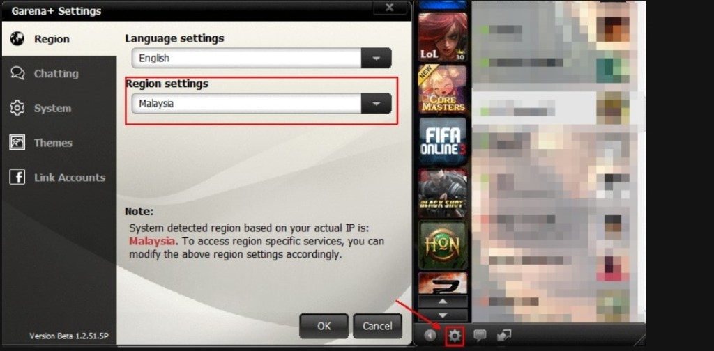 garena account region