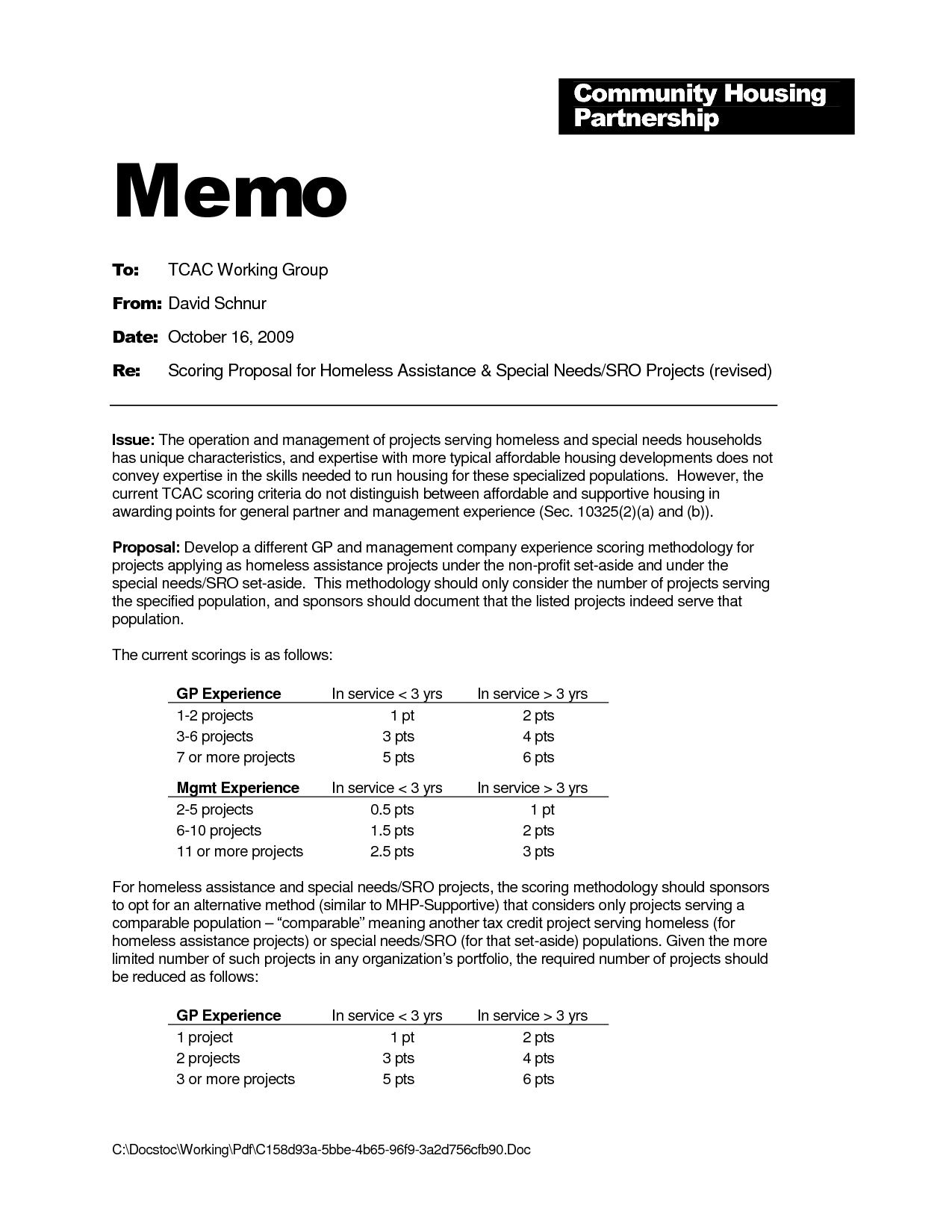 Research proposal memo format