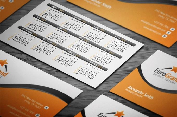 calendar for business cards