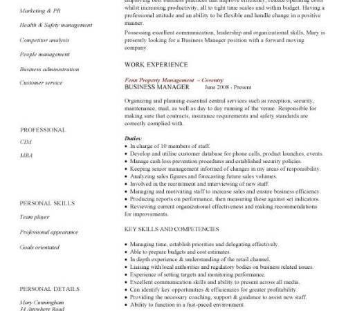 business management cv