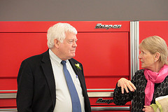 Dean of Science Susan Hoyne (right) with U.S. Rep. Jim McDermott at the Professional Automotive Training Center.