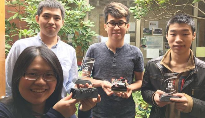 Shoreline Community College students (from bottom left to right) Yun-Chien Lin, Sheng-Kai Chen, Hsuan-Han Lai, and Hucheng Guo placed 1st and 3rd in the American Society of Mechanical Engineering Pacific Northwest Engineering Student Design Conference held at Tacoma Community College April 8-9, 2016.