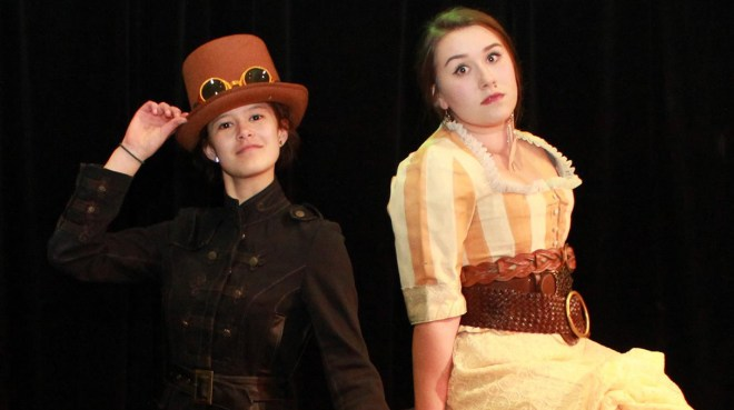 Tatia Ovenell and Kaelyn Barnes star in Shoreline Community College's upcoming production of The Mystery of Edwin Drood. Photo credit: Amanda Headley.