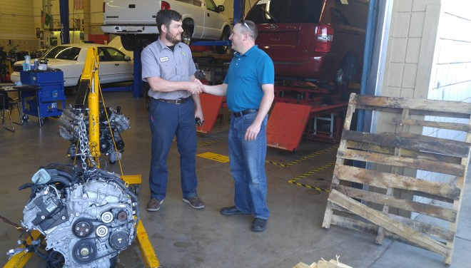 Tahoma High School automotive instructor, left, and Shoreline Community College T-TEN faculty member, Kevin Roner.