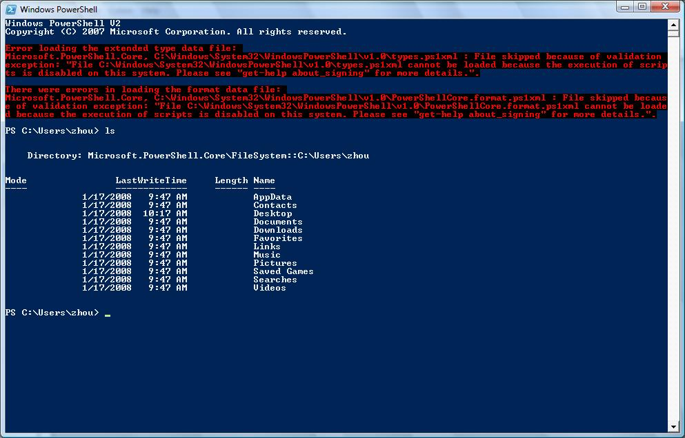 Windows 7 screenshot with PowerShell v2