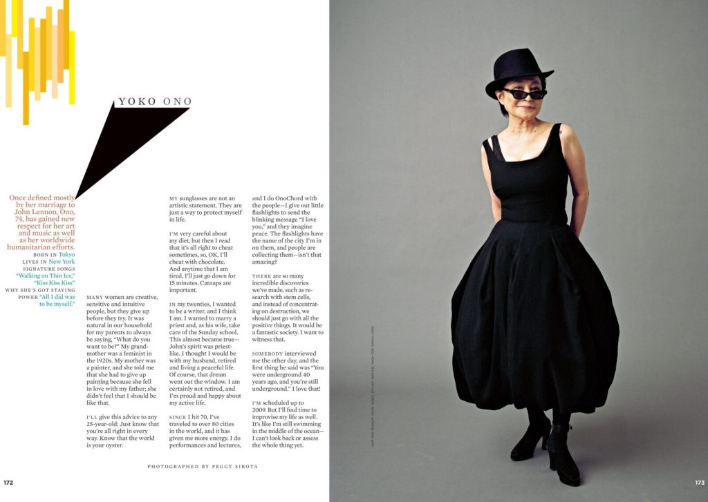 More Magazine spread with left side text and right side photo of Yoko Ono