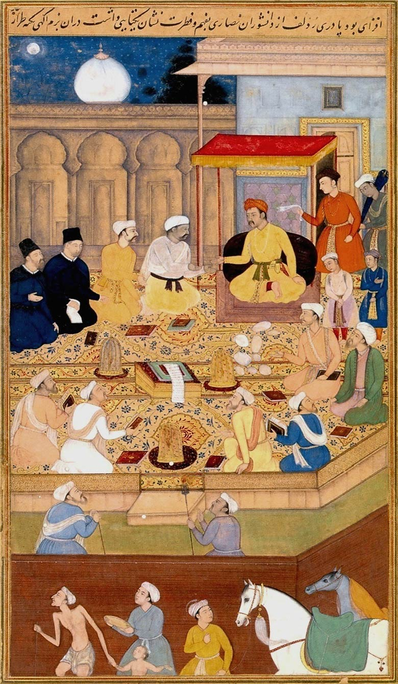 Mughal artwork of religious scholars engaging in discussion