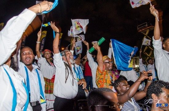 Excitement among the Saint Lucian contingent on sunday night in suriname. Photo credit: Gideon Ambrose