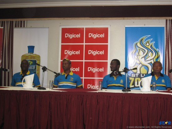From left: Antigua Hawksbills coach Sir Vivian Richards, captain Marlon Samuels, St Lucia Zouks captain Darren Sammy and coach Andy Roberts.