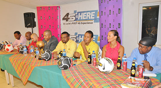 The head table at Tuesday's launch and tournament draw for the 11th edition of the Blackheart Knockout Football Tournament.