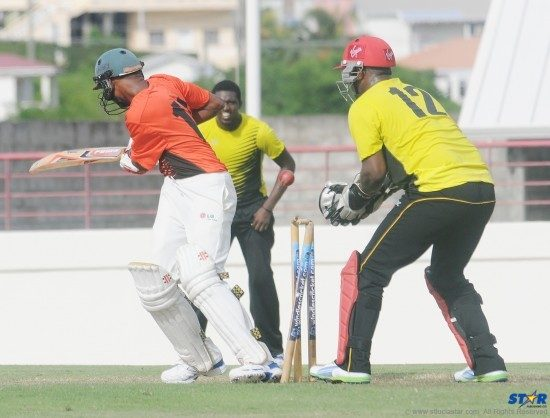 An Anse La Raye batter bowled out as South Castries wicket keeper Johnson Charles and teammates recorded an easy 10 wicket victory Saturday.