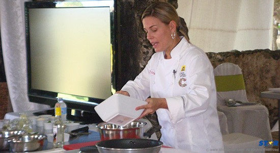 First female Iron Chef Cat Cora at the SLTB's Health and Wellness retreat last weekend.