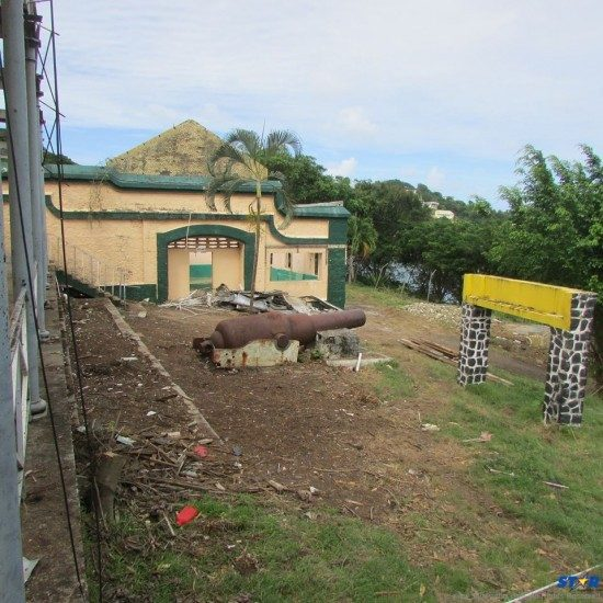 The buildings which formerly housed Golden Hope Hospital...now in ruins  at La Toc.