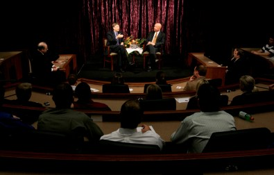 Gates spent much of his visit in a discussion with trustee and Best Buy founder Dick Schulze.