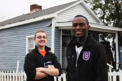 Tyler Skluzacek (left) and Raymond Nkwain Kindva outside the W.C. Handy house in Memphis. Photo by Kathryn Hubly.