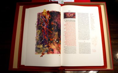 The first pages of the Book of Job in the Saint John's Bible Heritage Edition.