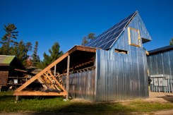 More than 40 solar panels will provide power for the Steger Wilderness Center and other buildings on the 240-acre site.