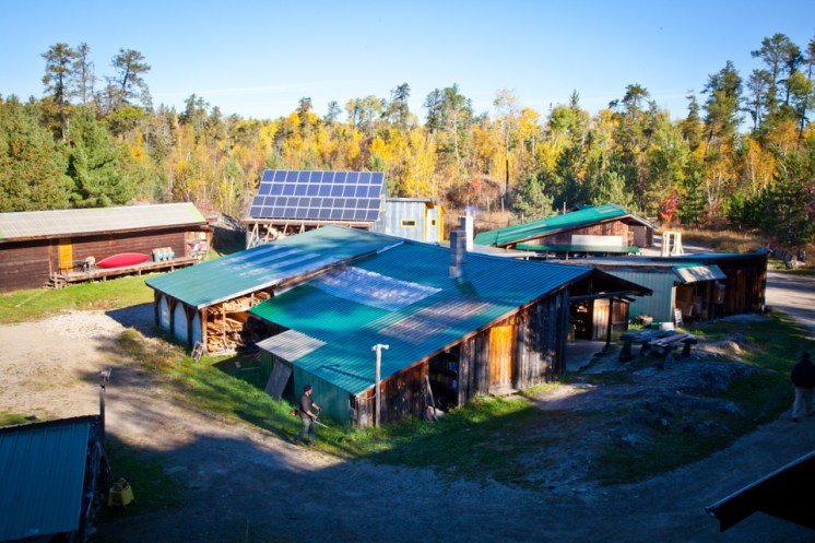 The solar panel array as seen from the upper level of the wilderness center.