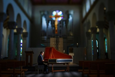 David Jenkins plays the St. Paul Seminary and School of Divinity's new harpsichord.