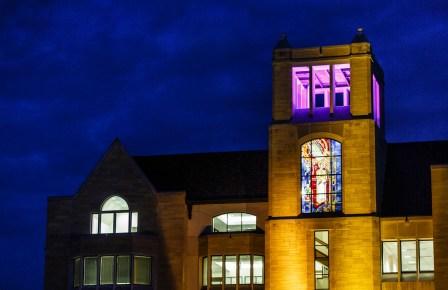O'Shaughnessy-Frey Library at night.