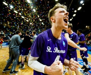 Grant Shaeffer celebrates the men's basketball national championship victory in Salem, Virginia.