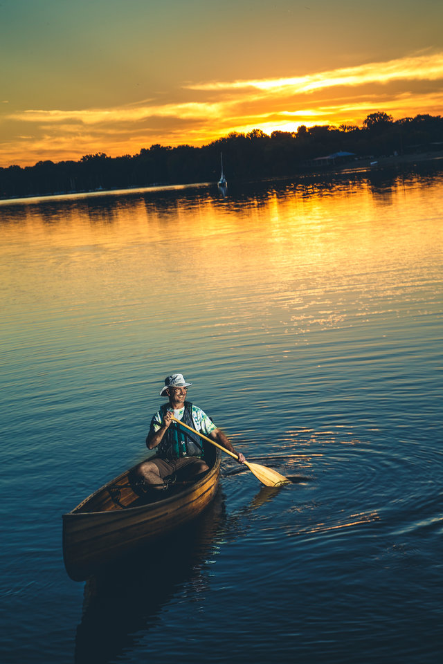 Sunset with a canoe.