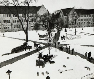 The lower quad is filled with snow sculptures in 1982.