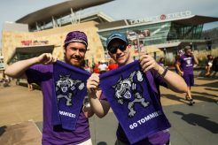 """Go Tommies"" towels were a common sight on the plaza before kickoff and in Target Field during the Tommie-Johnnie game."