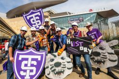 Caruso's Crew gets fans excited excited on the Target Field plaza before Tommie-Johnnie.