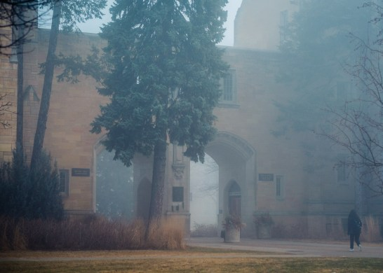 The Arches in fog.