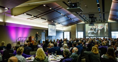 Former Minnesota governor Tim Pawlenty speaks during a First Friday in the Woulfe Alumni Hall.