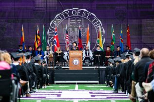 Divine Zheng gives the student address during the 2018 Undergraduate Commencement ceremony in O'Shaughnessy Stadium on May 18, 2018 in St. Paul.