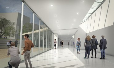 A rendering shows plans for the main hallway facing the west side of the building.