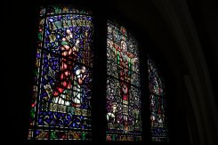 A stained glass window in the Chapel of St. Thomas Aquinas.