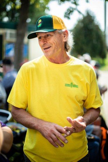 Brad Ribar talks near the Corn Roast stand at the Minnesota State Fair