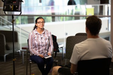 ThreeSixty Journalism students work with professional media coaches to interview sources for news packages on July 23, 2019 in St. Paul.