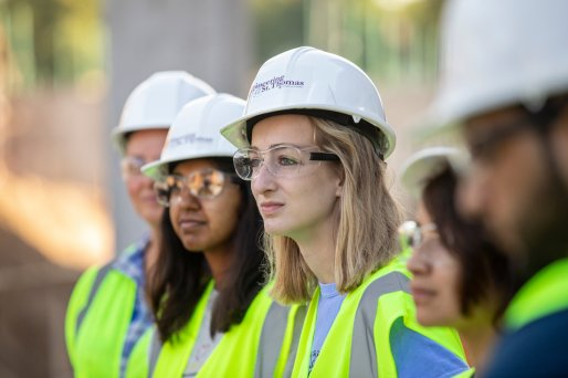Students in Professor Deb Besser's civil engineering class receive a tour of north campus construction projects from project managers with The Opus Group in St. Paul on Sept. 19, 2019.