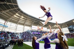 St. Thomas cheerleaders made sure the football wasn't the only thing flying through the air during the Tommie-Johnnie game.